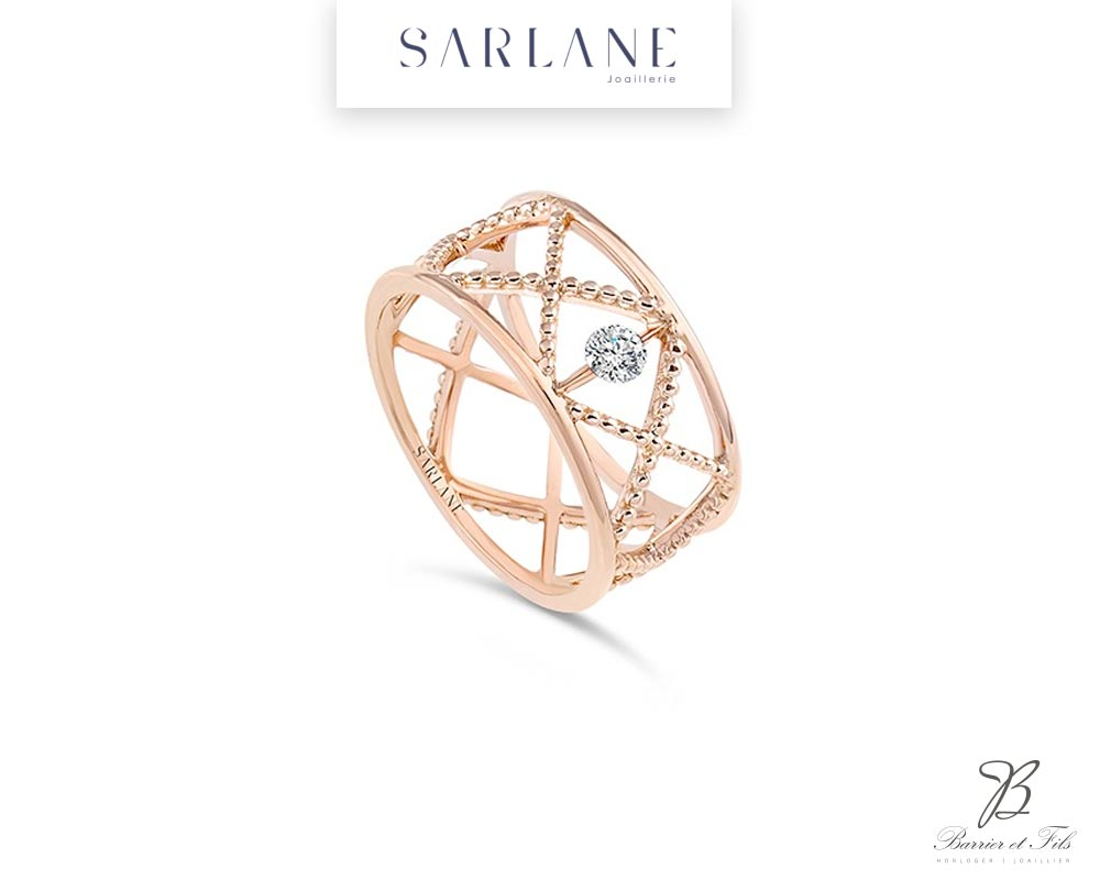 SARLANE Bague-Croisillon-un-diamant-or-rose-ref-PAL-BG302010-2