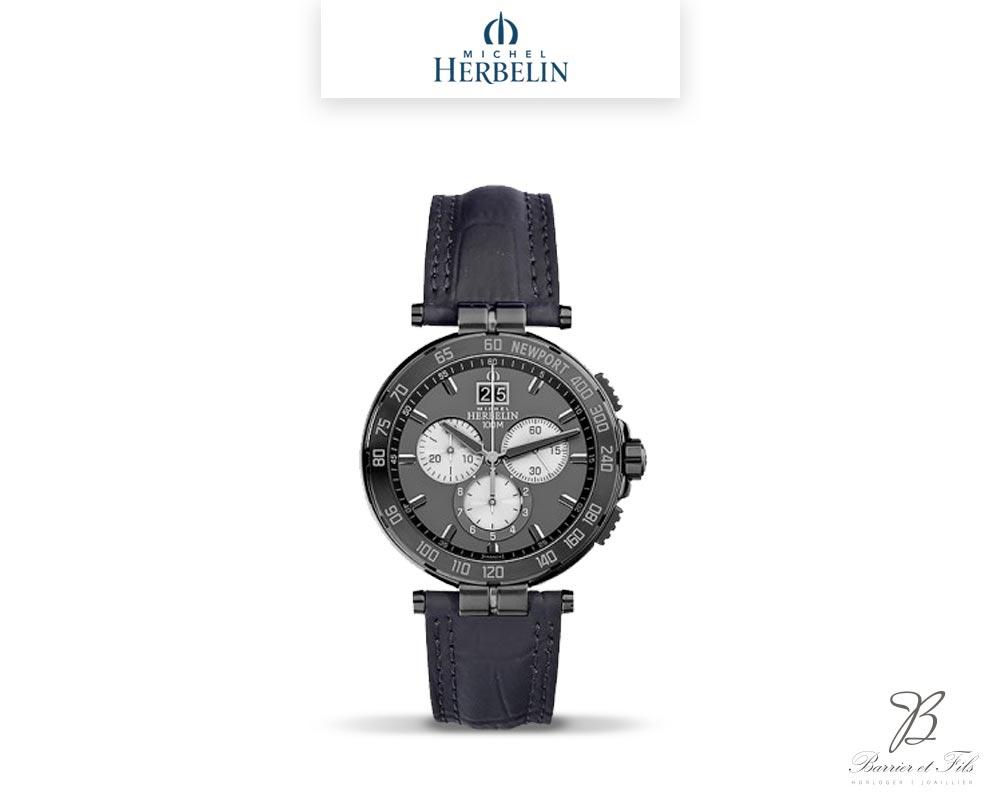 barrier-et-fils-paris-16ieme-joaillier-horloger-reparation-bijoux-Le-Shop-homme-Montre-Michel-Herbelin-collection-Newport-Chrono-36656-GN33